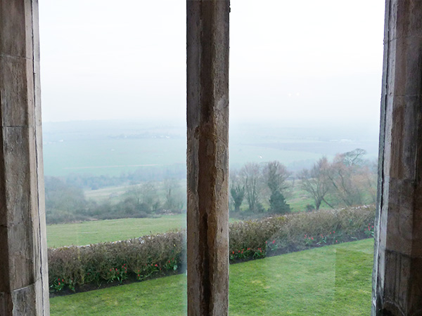 Lympne Castle view over Romney Marshes